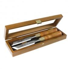 Set of skew chisels in wooden box 20mm
