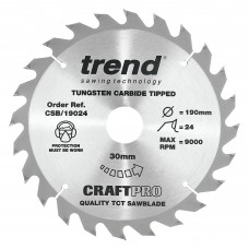 Trend Craft Pro 190mm diameter 30mm bore 24 tooth combination cut saw blade for hand held circular saws.