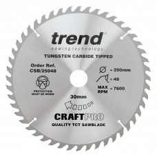 Trend Craft Pro 250mm diameter 30mm bore 48 tooth general purpose saw blade for table saws.