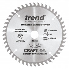 Trend Craft Pro 160mm diameter 20mm bore 48 tooth fine finish cut saw blade for plunge saws